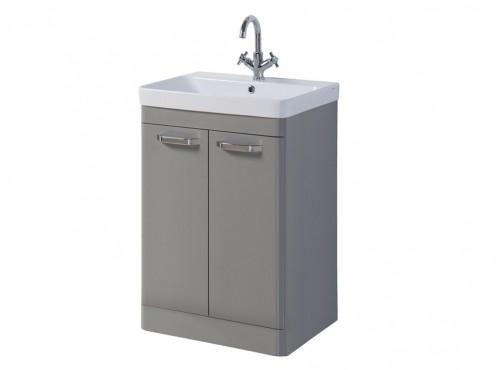 Dante 500MM 2 Door Floor Unit Grey With Zen Basin